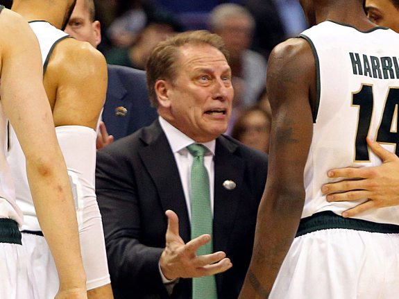Michigan State head coach Tom Izzo, middle, during a time out in the second half against Middle Tennessee State in the first round of the NCAA Tournamet on Friday, March 18, 2016, at Scottrade Center in St. Louis. Middle Tennesee State won, 90-81. (Christian Gooden/St. Louis Post-Dispatch/TNS via Getty Images)