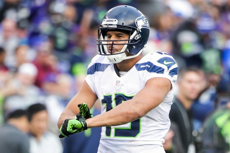 SEAHAWKS FILE -- Seahawks wide receiver Jermaine Kearse taps his wrist in celebration of catching a pass in the second half as the Seattle Seahawks take on the Baltimore Ravens at the M&T Bank Stadium in Baltimore Sunday December 13, 2015. The Seahawks defeated the Ravens 35-6. (Bettina Hansen / The Seattle Times)
