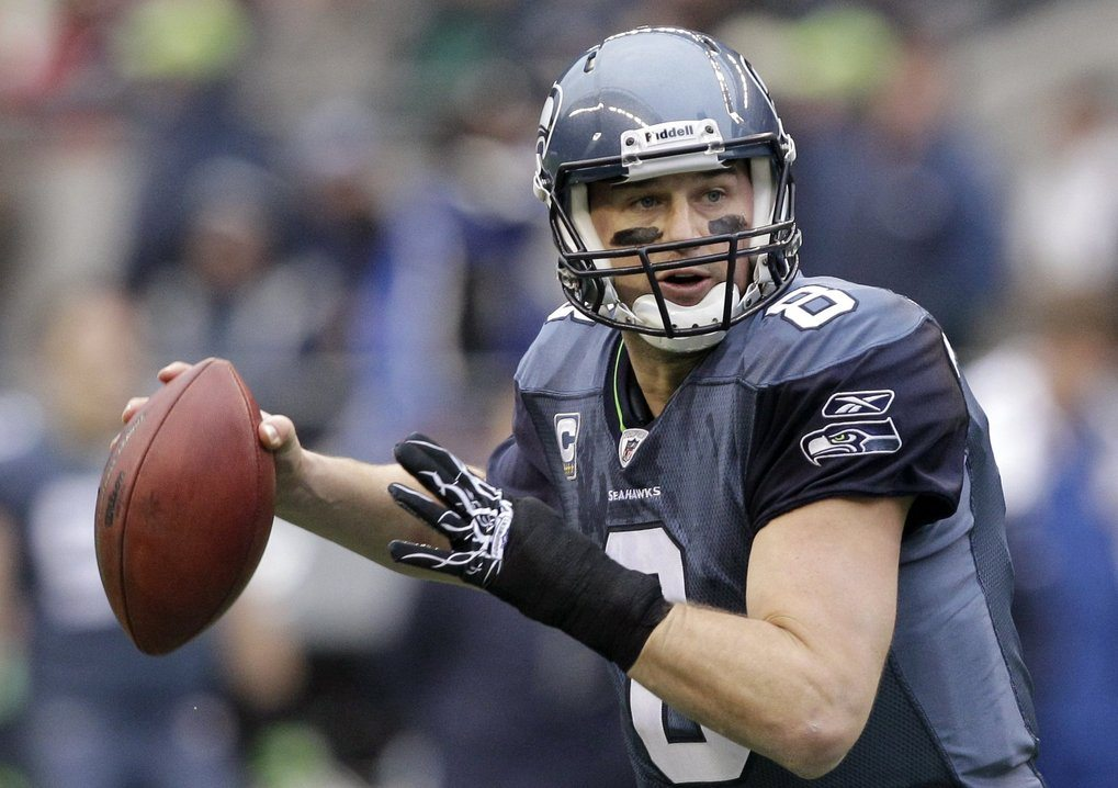 Seattle Seahawks quarterback Matt Hasselbeck drops back to throw against the Carolina Panthers in the first half of an NFL football game, Sunday, Dec. 5, 2010 in Seattle. The Seahawks won 31-14. (AP Photo/Elaine Thompson) SEA141  Previous UID: 0415100526 (Elaine Thompson / The Associated Press)